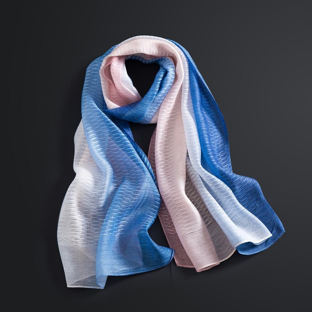 94773c16b63 Acheter Gradient Foulard Femmes Coloré Mode Automne Foulards Châles Wraps  Hijabs Bleu Rose Foulard En Soie 180   90 Cm De  22.27 Du Shemei