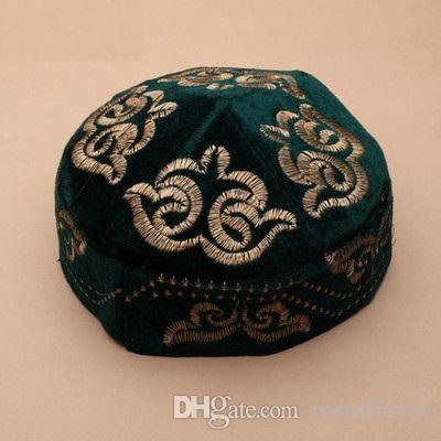Tetragon Uygur Doppa Muslim Men's Uighur Flower Hat Xinjiang traditional folding pattern embroidery cap stage four almond