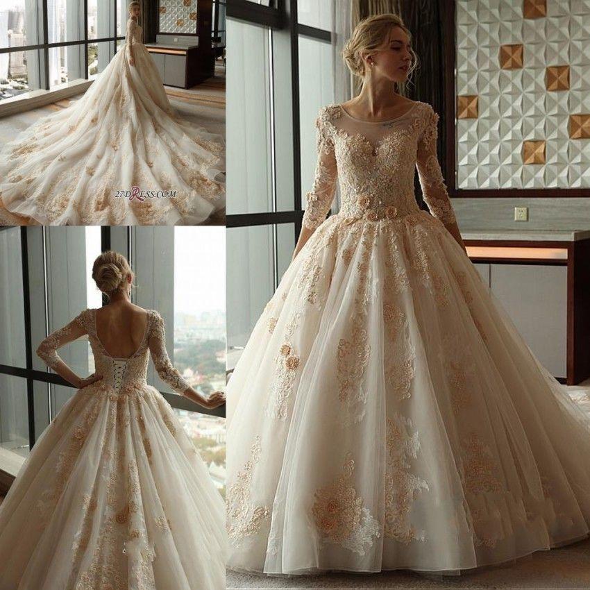 Beautiful Gold Wedding Dresses: Beautiful Champagne Gold Petal Appliques Wedding Dresses