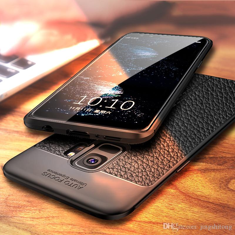 separation shoes 9b5ea 05282 For Samsung Galaxy S9 Plus Case Leather Feel Sleek Ultra Thin Silicone Soft  TPU Business Back Cover for Samsung Galaxy S9 Case