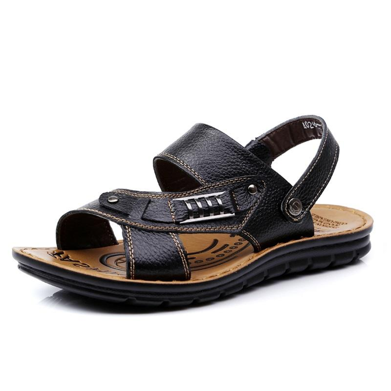 52f579cd7c3 2018 Summer Gladiator Men S Beach Sandals Outdoor Shoes Good Quality  Leather Roman Men Casual Shoe Flip Flops Large Size 48 Silver Sandals Gold  Sandals From ...