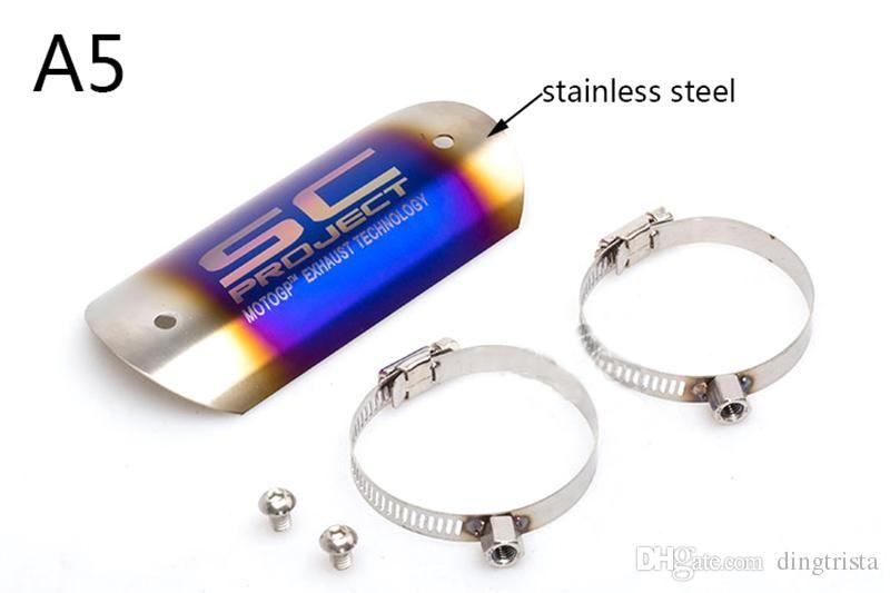 TKOSM 5 Stili In acciaio inox Protezione termica scaldacollo motocicletta Protezione marmitta tubi Protezione talloni Accessori motocicli
