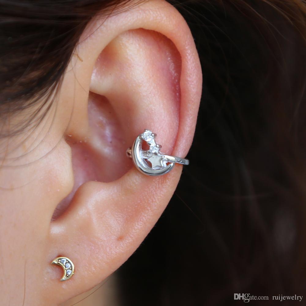 a1de363ece18 2019 Simple Cute Clip Earrings Without Piercing Jewelry Cresent Moon Star  Cuff Earrings Women Dainty Ear Clip Danity Ear Wear From Ruijewelry