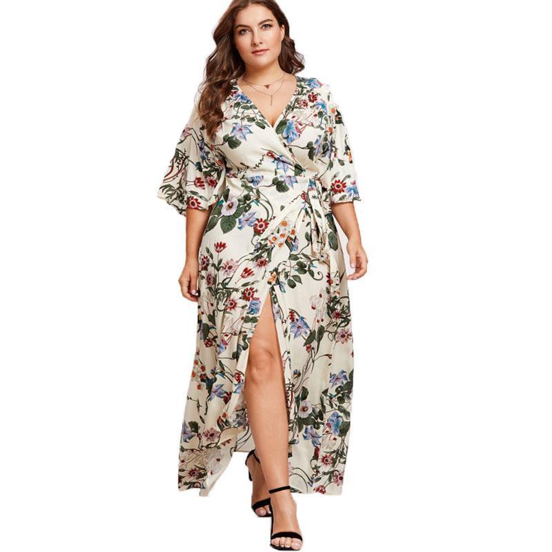af5d622a56f4 2019 Summer Women Bohemian Style Floral Maxi Dress Robe Longue Femme Sexy V  Neck Side Split Beach Tunic High Waist Long Wrap Dress From Moussy, ...