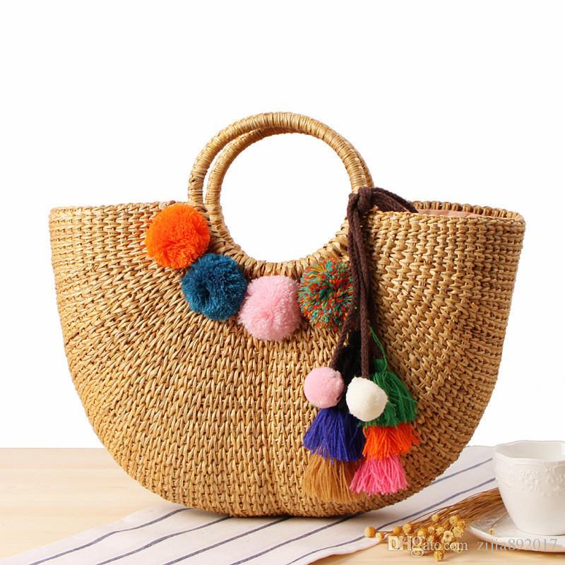 8b49bdcc13ba 2018 Handmade Beach Bag Straw Totes Bag Summer Bags With Tassels Pom Pom  Pompon Women Natural Basket Handbag High Quality C234 Ladies Handbags  Leather ...