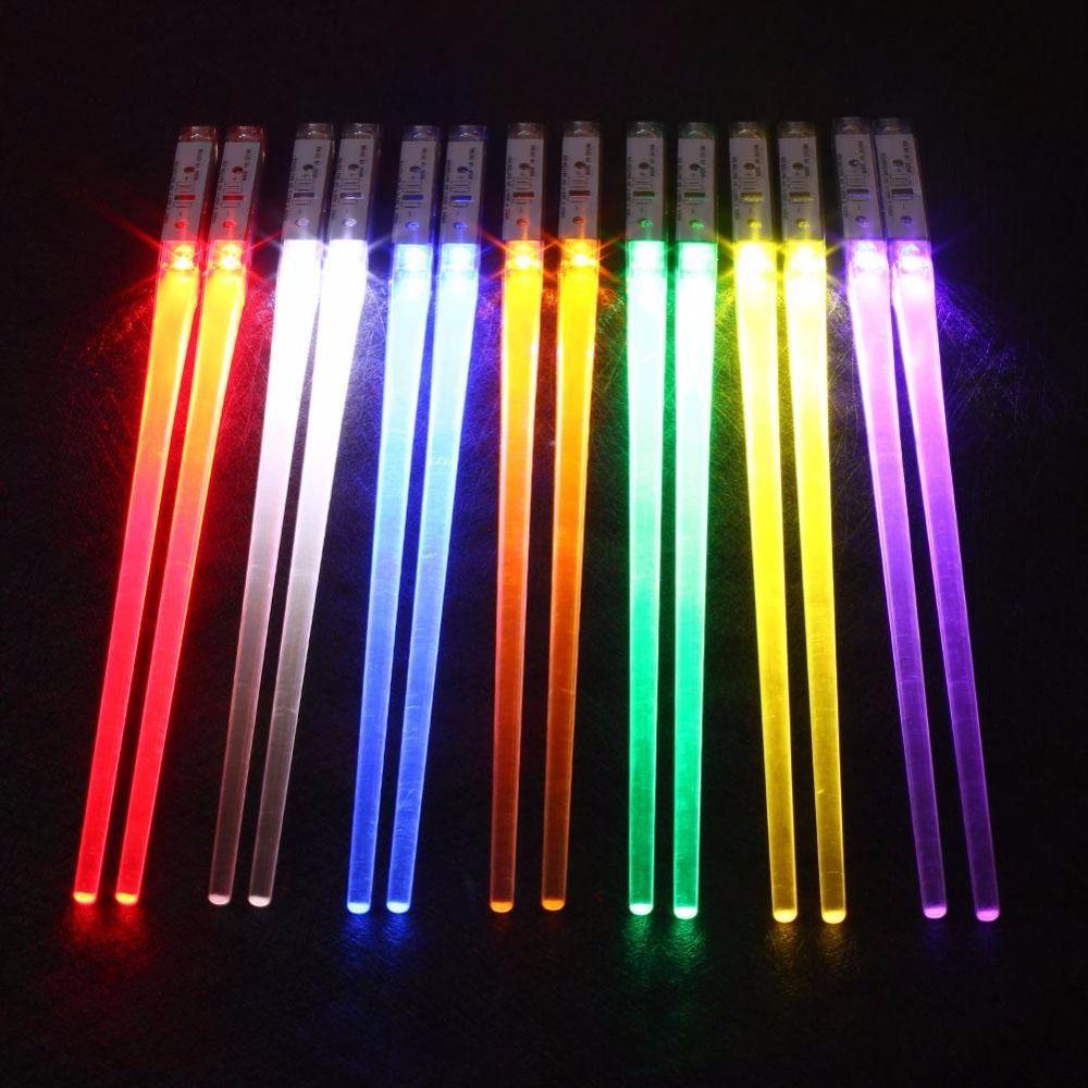 1 Pair Random Color LED Chopsticks Non-Slip Light Up Chopstick Plastci  Reusable Sushi Sticks Tableware Home Party Gifts