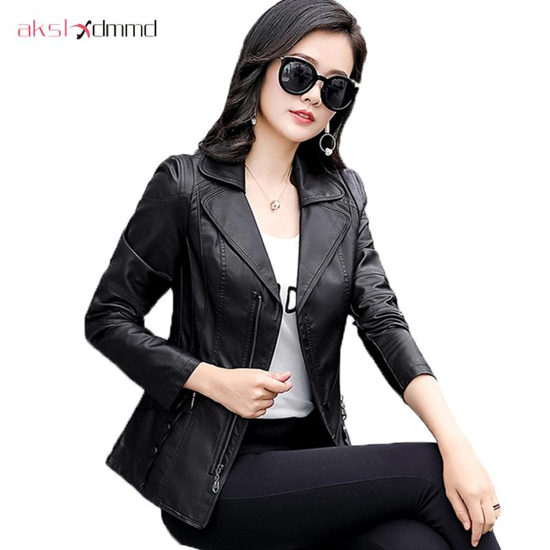 7c60ae637 2019 AKSLXDMMD Plus Size Middle Aged Ladies Leather Jacket Spring ...