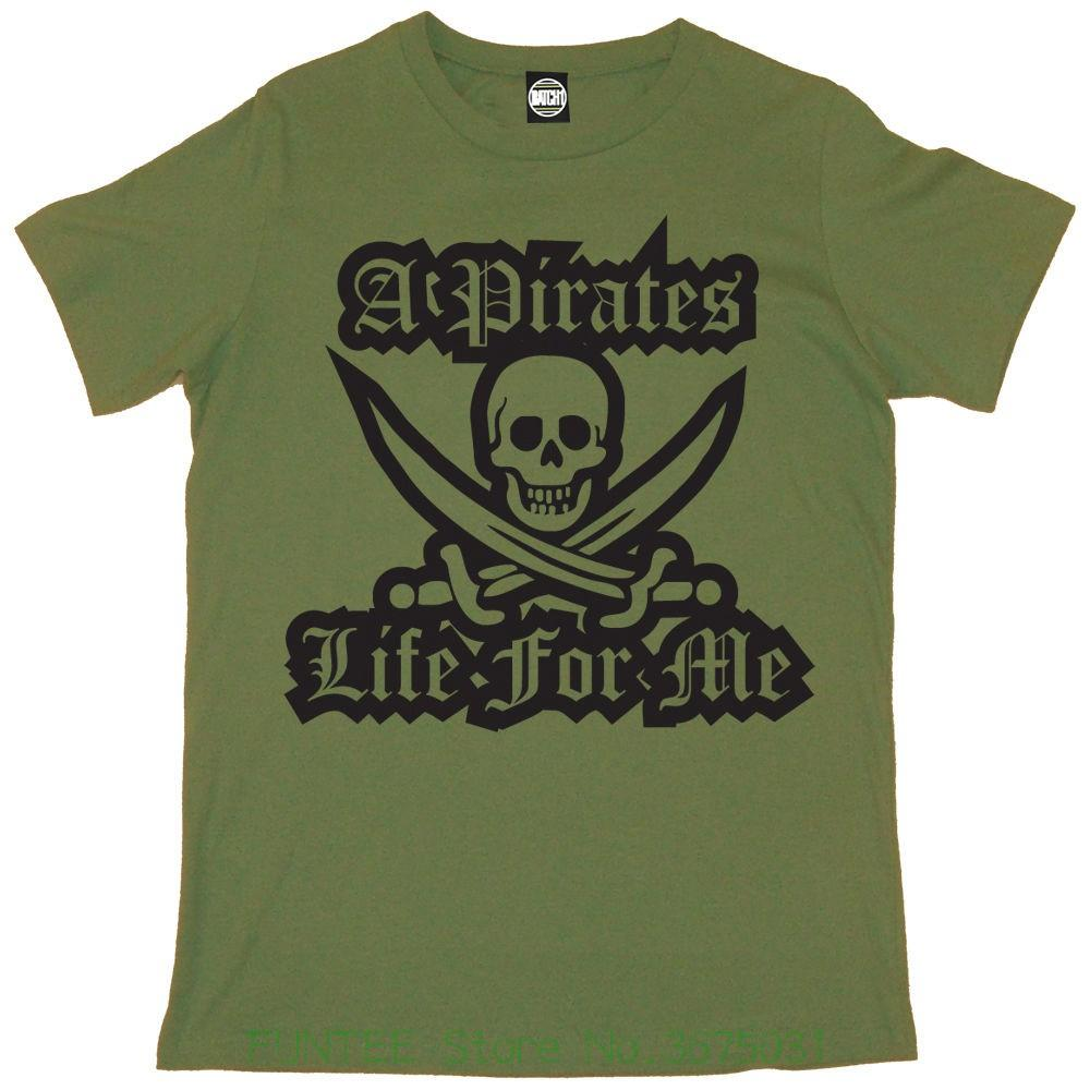 New Fashion Men's Short Sleeve A Pirates Life For Me Mens Printed Skull &  Crossbones Vintage Style T-shirt