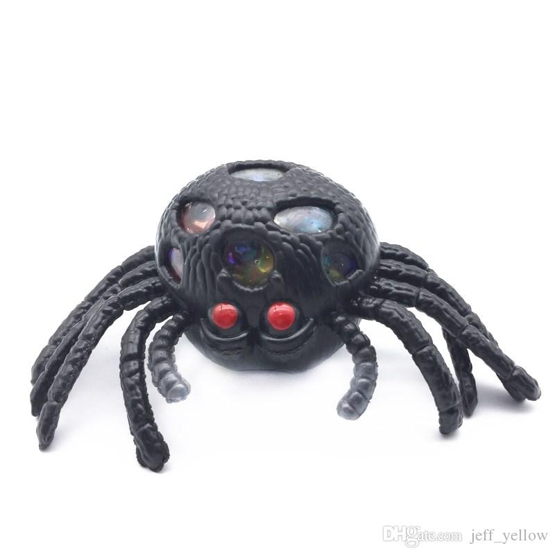 Free shipping Tricky toy Black spider Venting ball Squeezing Decompression toy Venting ball Spoof props