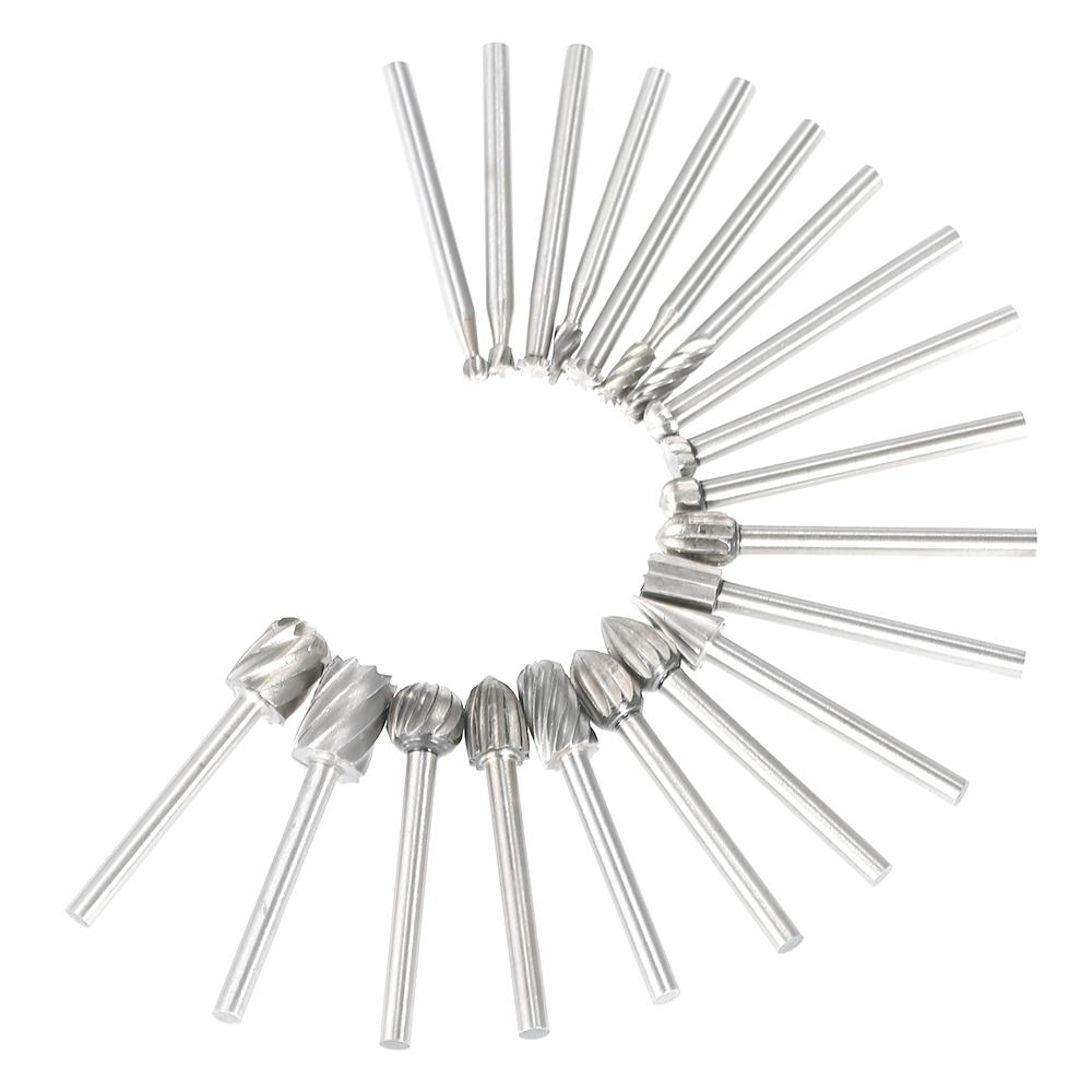 Freeshiping 20Pcs Rotary Burrs Set 3mm Shank HSS CNC File Milling Cutter Engraving Bits for Drilling Woodwork Electric Grinding Accessories