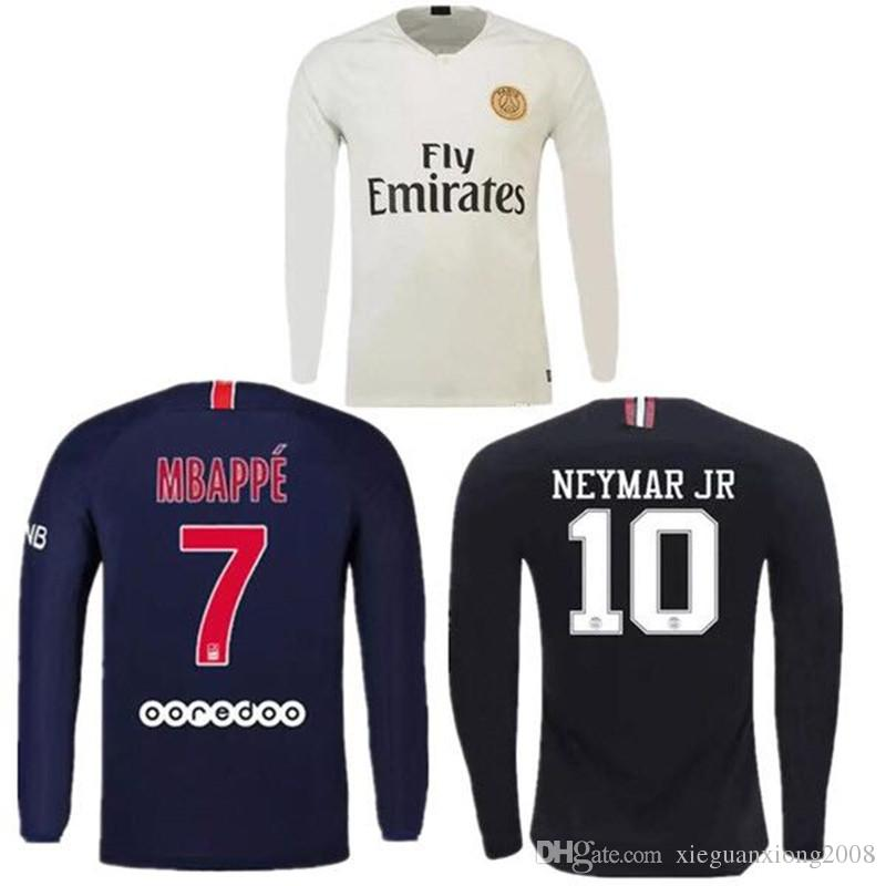 ecf815388d5 2019 2019 Long Sleeve PSG Third Maillot MBAPPE Soccer Jersey CAVANI  VERRATTI Top Thailand 18 19 Paris Football Shirt KIMPEMBE Camiseta De  Futbol From ...