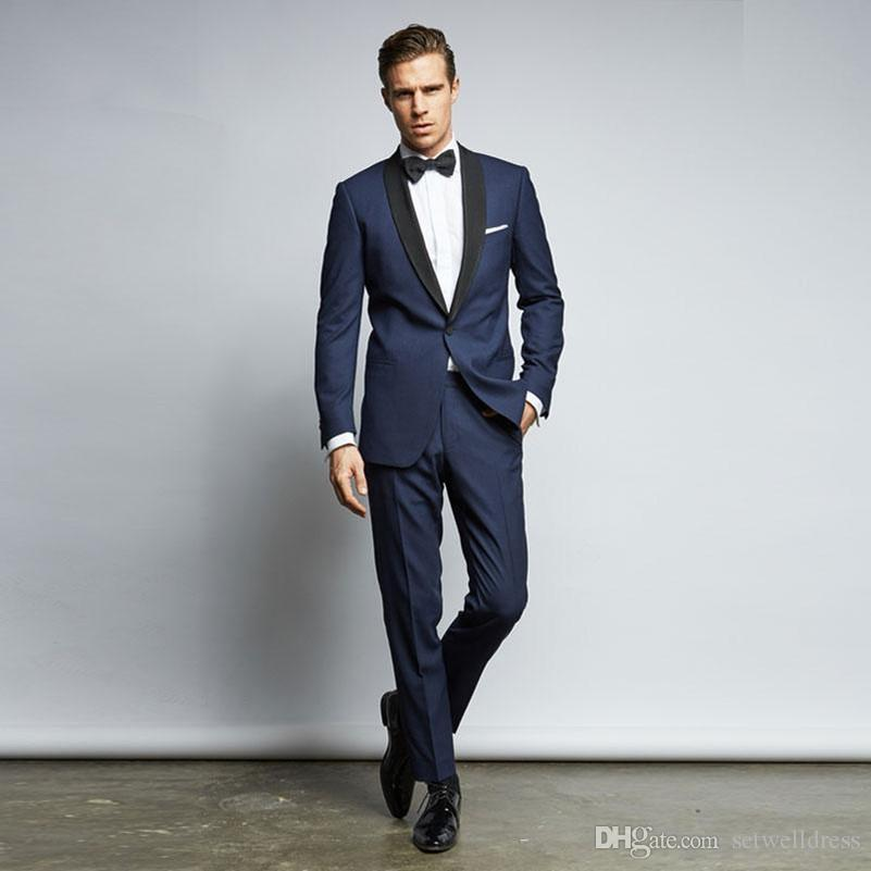 Custom Made Cheap Navy Blue Wedding Suits For Men With Black Lapel Slim Fit Grooms Tuxedo Two Pieces Prom Party SuitJacket+Pants+Tie