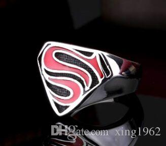 fast shipping band party 316 stainless steel hero Superman mens ring punk hot silve biker ring size 7~13