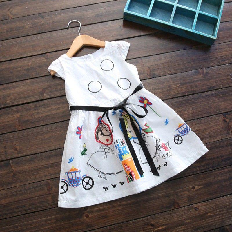 2017 nuove ragazze adorabili di estate vestono i vestiti casuali dei bambini Vestito dalla neonata con i telai Vestito da principessa veste 2-7Y S2