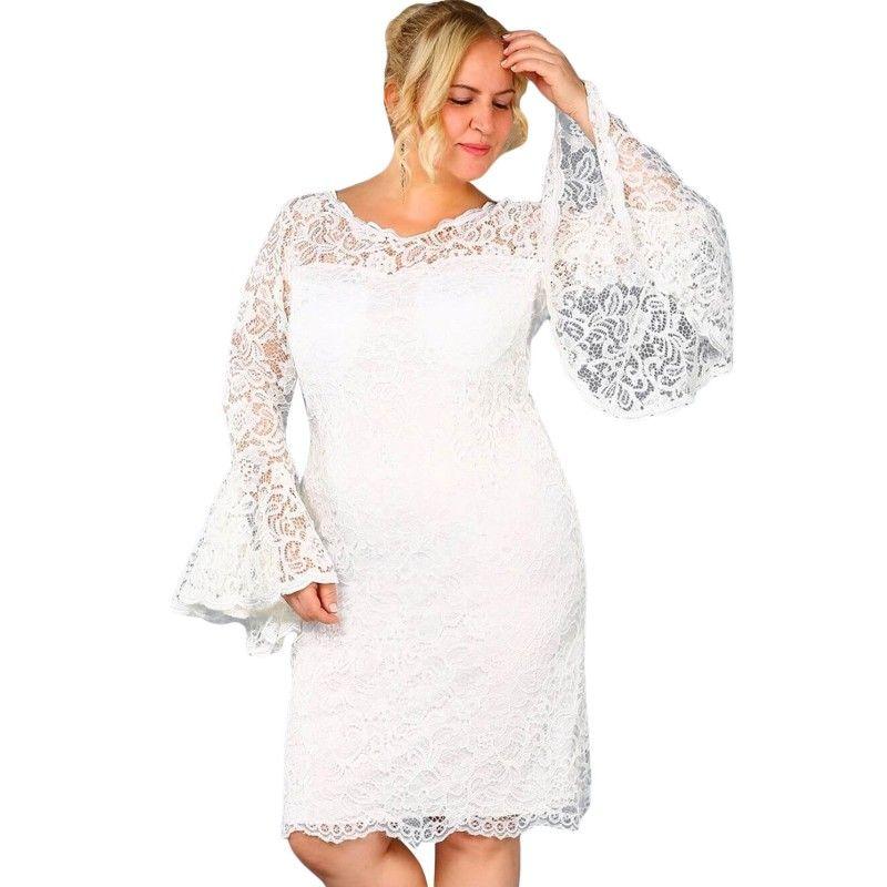 Xl 5xl Plus Size Dress Flare Sleeve Sexy Party Women Autumn Clothing