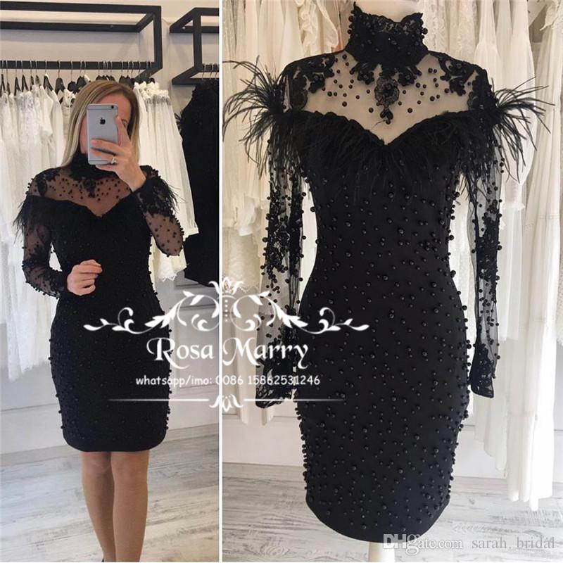 39d6a4b41a65b Sexy Black Feather Short Cocktail Party Dresses 2019 High Neck Long Sleeves  Beaded Plus Size Vintage Lace Knee Length Formal Evening Gowns Maxi Dresses  ...