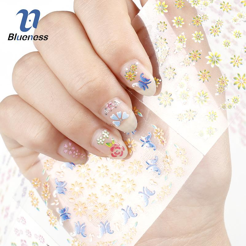 2018 Stickers Nails 3d Beauty Sticker Nails 24 Design Charms Flowers ...