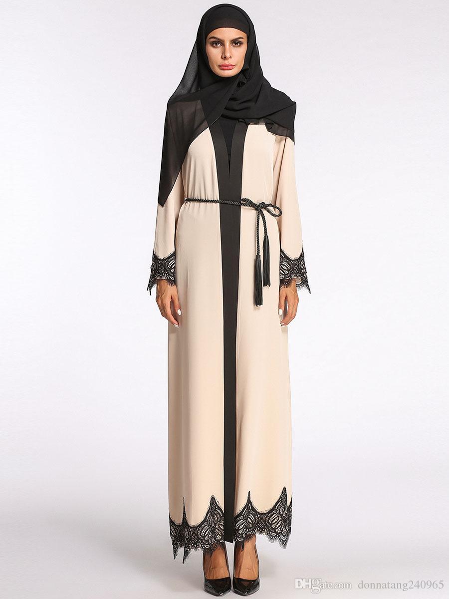 37cbfe0aa8 Compre Moda Muçulmano Abaya Maxi Vestido De Renda Hem Longo Robe Cardigan  Ramadan Kimono Árabe Dubai Thobe Vestuário Islâmico Oração Serviço De  Adoração De ...