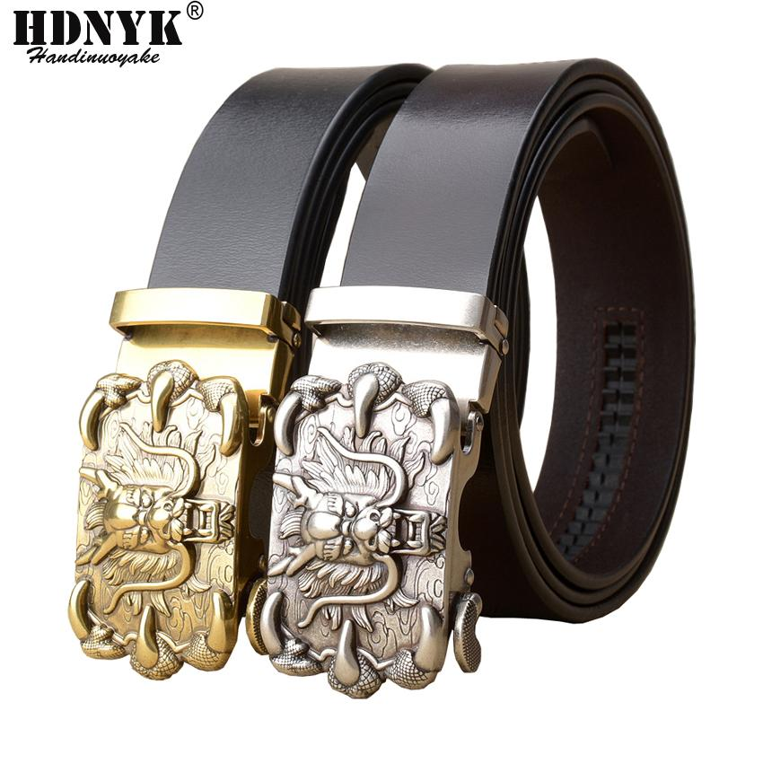 New Famous China  Buckle Belt Men Cowskin Genuine  Leather Men's Belts for Men,Strap Male Metal Automatic Buckle