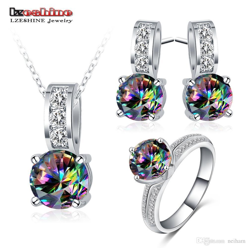 3ef12f11910f Whole SaleLZESHINE New Fashion Colorful CZ Jewelry Sets For Wedding  Pendant Earrings Ring Rainbow Zircon Jewelry For Women Aretes Bijoux  Designer Jewelry ...