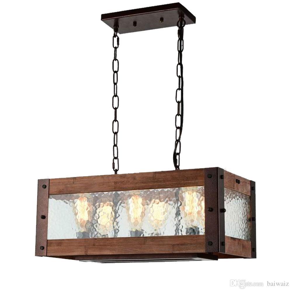 Großhandel Rustikale Kücheninsel Licht, 6 Licht Quadrat Holz Und ...