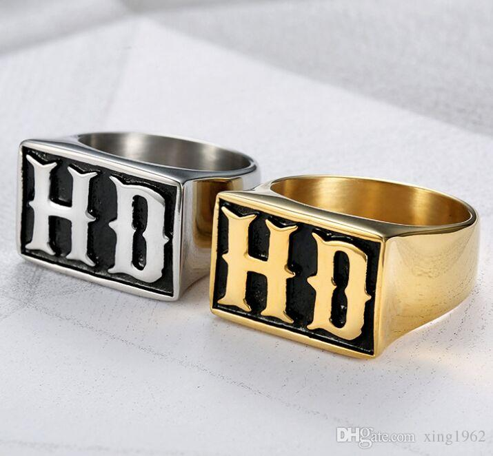 fast shipping band party 316 stainless steel motorcycles biker HD mens ring punk silver golden mens ring size 7~15