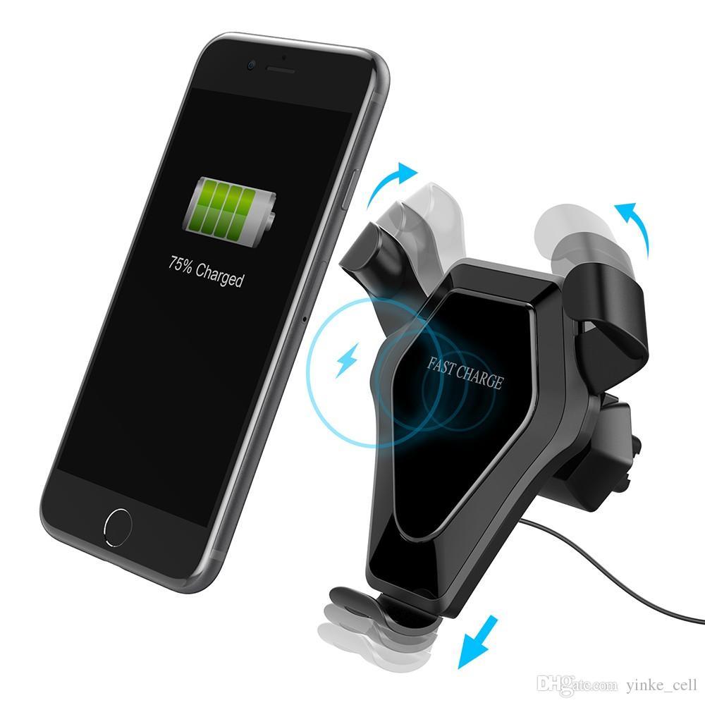 cf194b04a54 Soporte Para Celular Carro Cargador Inalámbrico Qi Rápido Soporte Para  Teléfono Soporte Para Teléfono Reacción Por Gravedad Soporte De Carga Para  IPhone X ...
