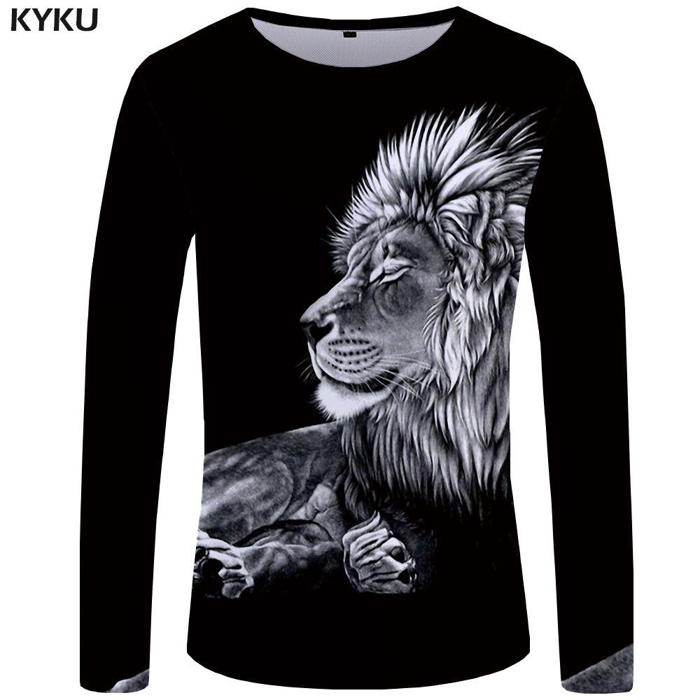 83964241 KYKU Lion Long T Shirt Men Black King Tshirt Gothic 3d Print T Shirt T Shirt  Funny T Shirts Hip Hop Mens Clothing Streetwear Top T Sh Fashion Shirt From  ...