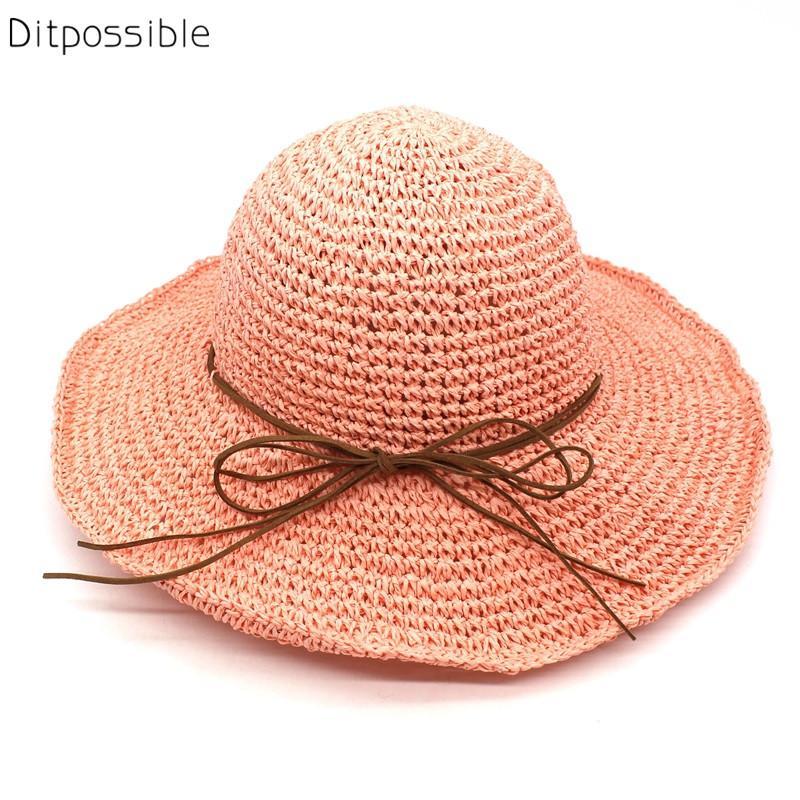Ditpossible Summer Straw Hat Women Foldable Sun Hats Solid Fashion Beach  Caps Wide Brim Fedora Summer Hat From Fashionable16 ddfbb7bdb25