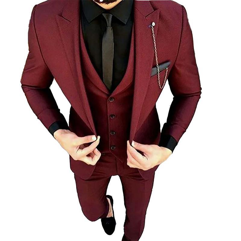 2019 2018 Latest Coat Pant Designs Burgundy Men Suit Wedding Groom