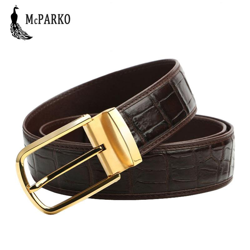 Cheap Price Crocodile Leather Men Belts High Quality Luxury Design Solid Black Brown Male Belts Casual Golden Silver Buckle Strap Size 125cm Back To Search Resultsapparel Accessories