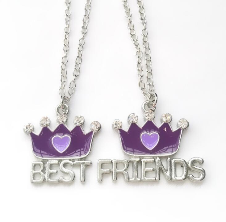 2018 Новый Arrive Crown With Rhinestone Pendant Necklace Лучшие друзья Ожерелья Kids BFF Ювелирные украшения для детей