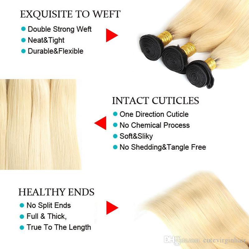 Brasiliano 613 fasci di capelli umani biondi con pizzo dritto corpo onda dritta # 613 1b / 613 ombre tessuto di capelli biondi estensioni