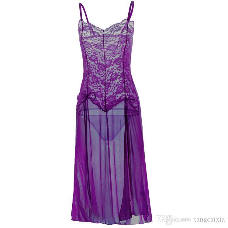 Venta al por mayor mujeres libres del envío del cordón transparente de la ropa de noche sexy ropa interior de alta división dormir noche caliente vestido más tamaño 6XL