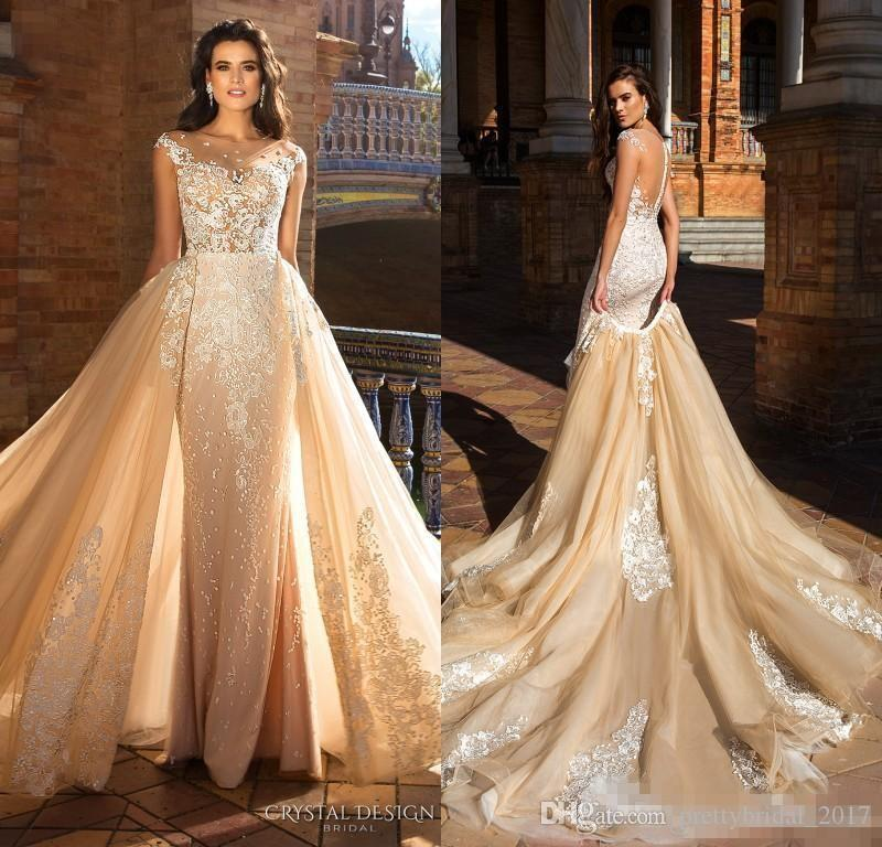 Crystal Design 2018 New Champagne Mermaid Wedding Dresses With ...