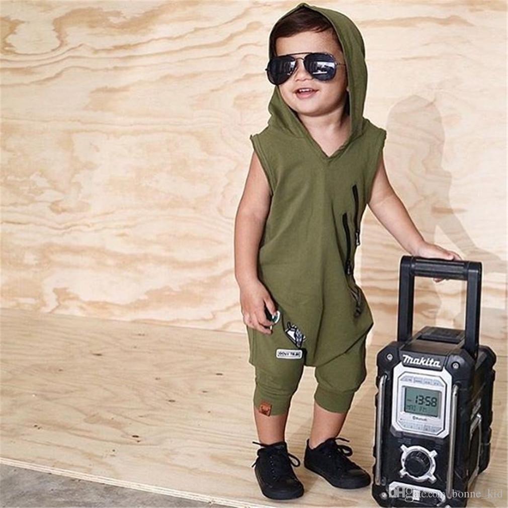 쿨 아기 소년 녹색 후드 민소매 옷을 빌려 장난 꾸러기 어린 소년 스포츠 복장 캐주얼 바디 수트 Playsuit 여름 키즈 의류 0-24M