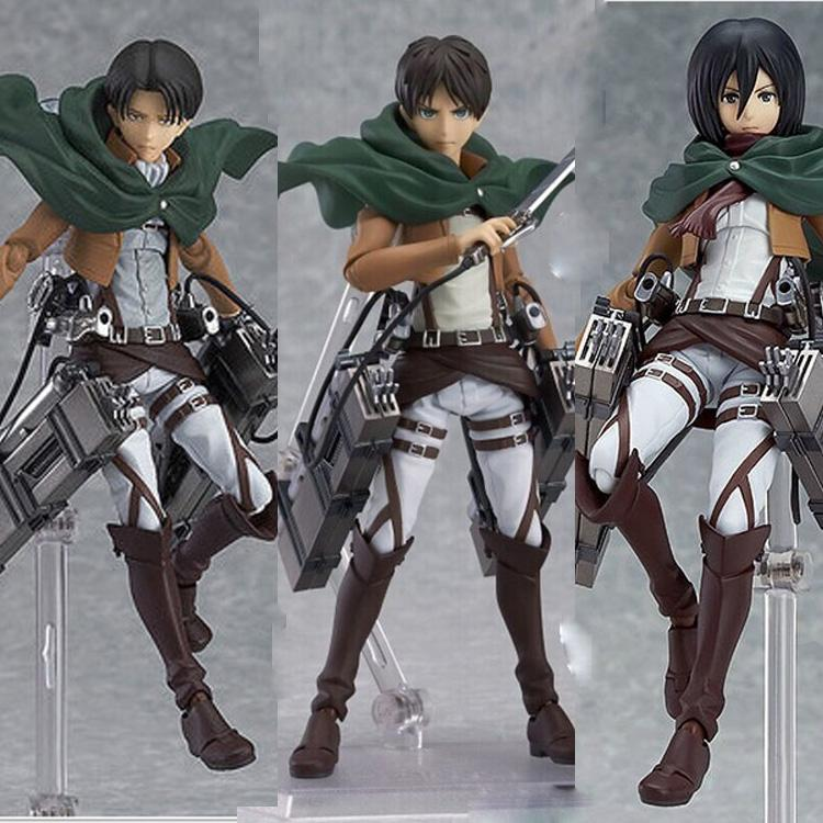 2019 Anime Attack On Titan Eren Mikasa Ackerman Levi  Rivaille Figma Pvc  Action Figure Model Toy From Runbaby 872f999ac