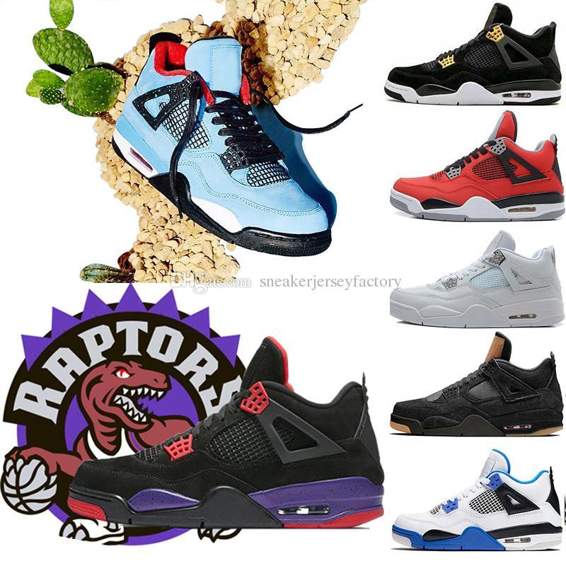 half off eafab c066a Großhandel Air Nike Retro Jordan Travis Scott X 4s Houston Kaktus Jack  Raptors Basketball Schuhe 4 S Pure Money Royalty Black Katze Herren Outdoor  ...