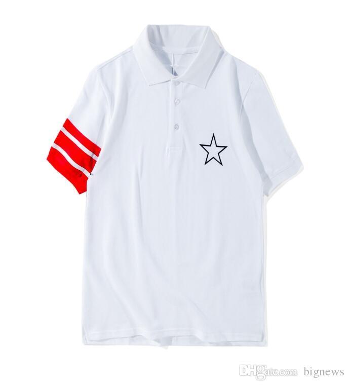29a76c229f98 2018 Summer Fashion Designer Brand Men Red Striped Star Letter Print Polo T- shirt Turn-down Collar Cotton Casual Tshirt Tee Men's T-Shirts Brand T -  Shirt ...