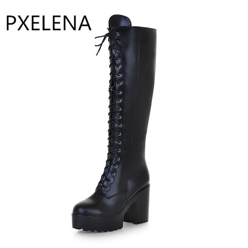 6ca28540a19 PXELENA Punk Rock Gothic Boots Women Lace Up Size Zipper Chunky Block High  Heels Platform Knee High Riding Boots Ladies Shoes Wedge Shoes Boots Online  From ...