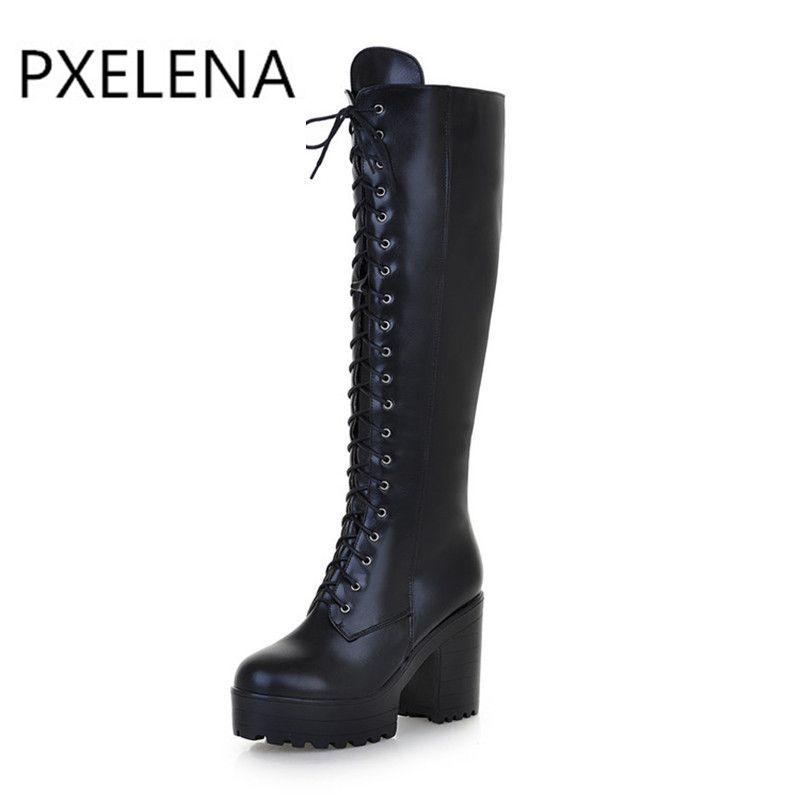 81e780e6698884 Großhandel PXELENA Punk Rock Gothic Stiefel Frauen Schnüren Größe  Reißverschluss Chunky Block High Heels Plattform Kniehohe Reitstiefel Damen  Schuhe Von ...