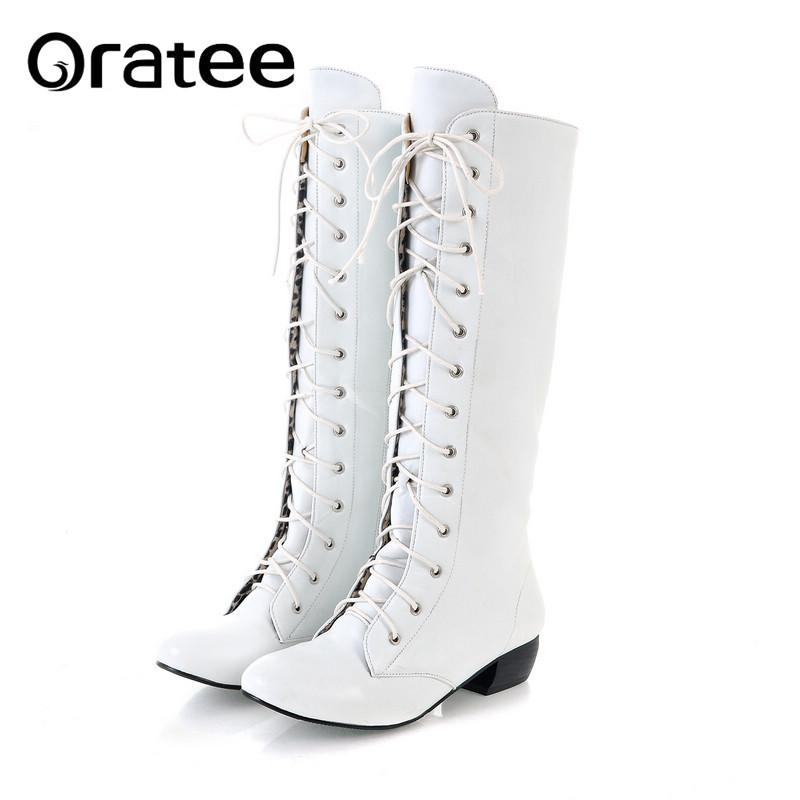 d1d3175e0954e Large Size 43 Lace Up Knee High Boots Women Autumn Soft Leather Fashion  White Square Heel Woma Footwear Fringe Boots From Tinypari, $42.19   DHgate.Com