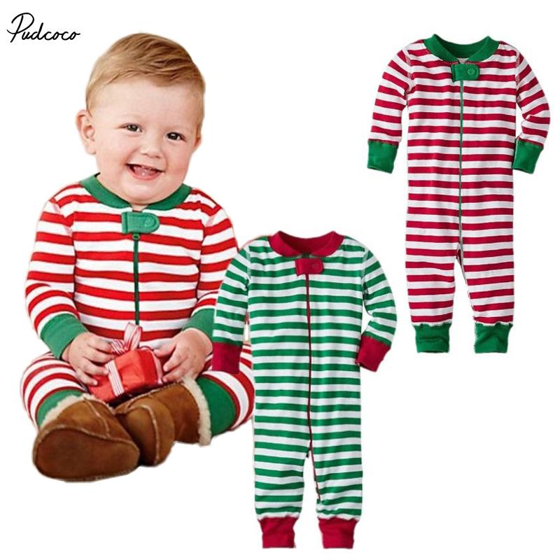 688517eeb 2019 Christmas Hot Stripe Unisex Baby Boys Girls Romper Infant ...