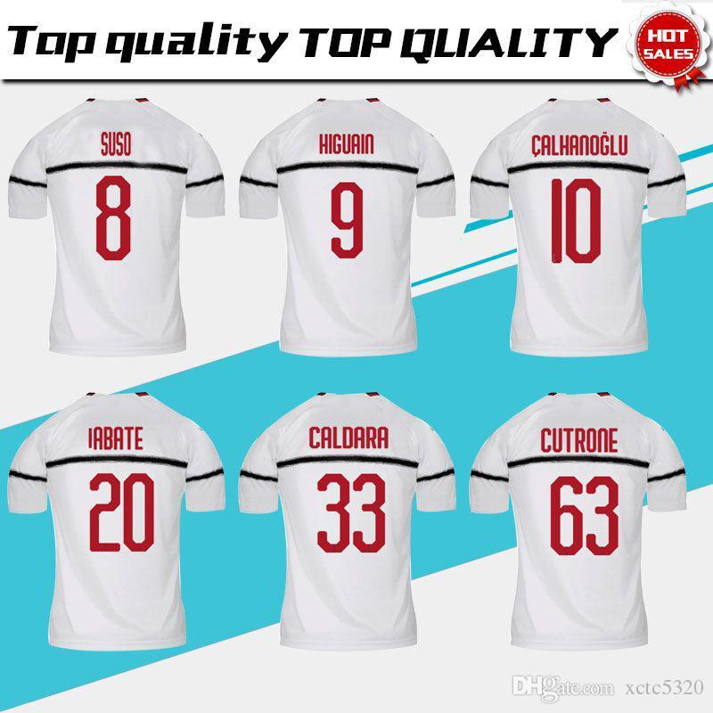Acquista   9 HIGUAIN 2019 Milan Away Soccer Jersey 18 19 Soccer Soccer  Shirt   10 CALHANOGLU   8 SUSO   5 BONAVENTURA Football Uniforme Taglia S  XXL A ... 82c81f22ee9cd