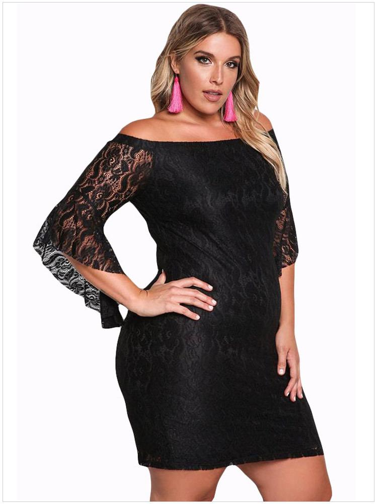 Plus Size Black Women Dress Elegant Lace Off Shoulder Autumn Sexy