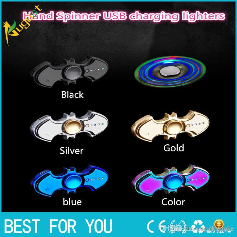 2017 new USB charging lighters No gas cigar lighter Finger toy Gyro flash Tri-Spinner Electronic Cigarette Hand Fidget Spinner