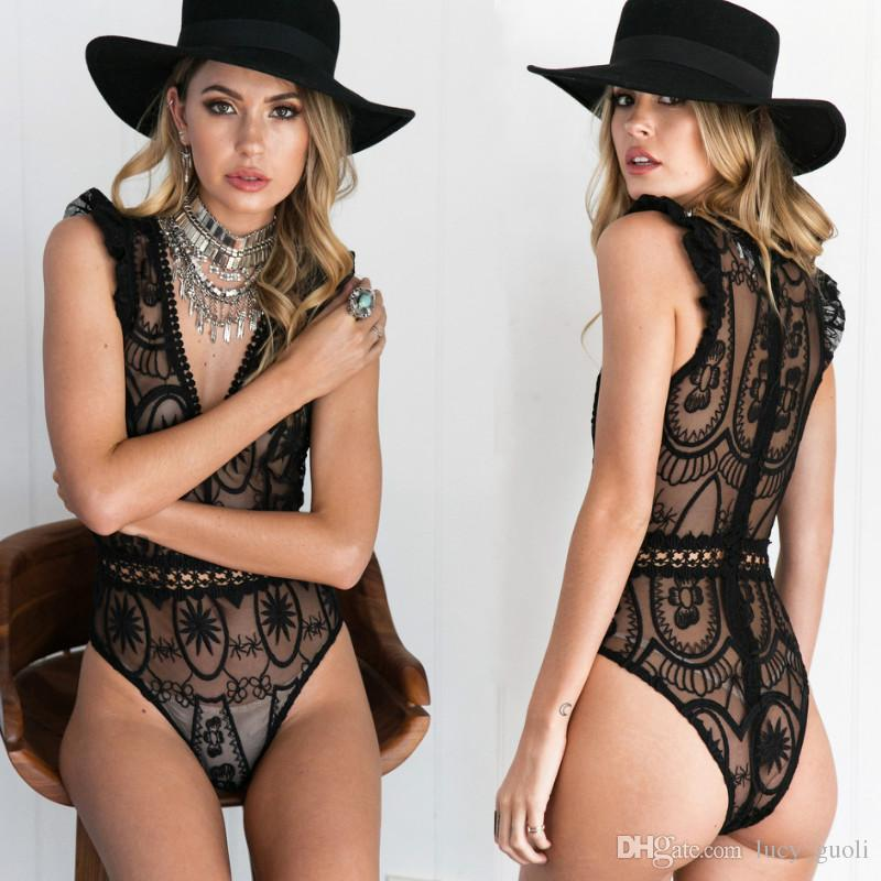 2019 Summer Lace Bodysuits Sleeveless V Neck Slim Sexy Bodysuit Clubwear Body  Top Black White Overalls Women Jumpsuit Sexy Female Body Suit New From ... d61a31245