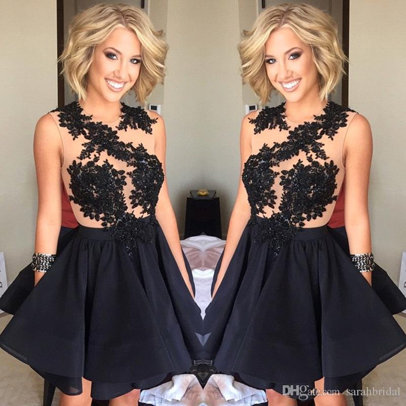 Newest Black Sheer Lace Appliques prom Dresse 2019 Cocktail Dresses Illusion Jewel Neck Sleeveless Short Party Homecoming Dresses Club Gowns