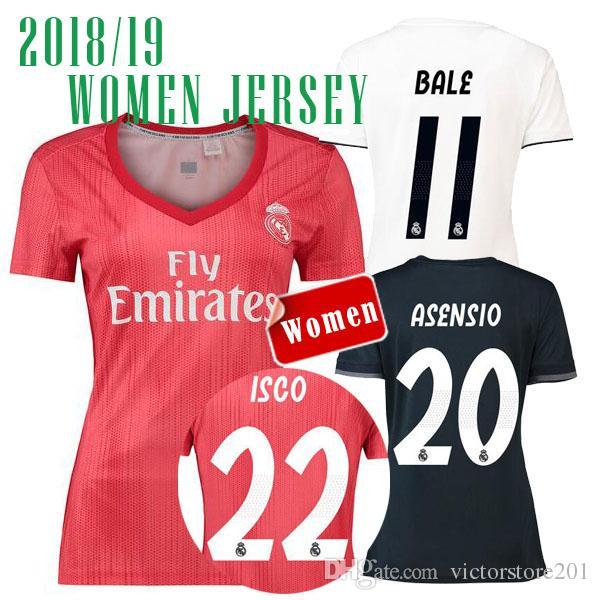 08c7ef888ba61 18 19 Real Madrid Asensio MUJER Tercera Camiseta Roja De Fútbol 2018 De  Distancia BALE RAMOS ISCO MODRIC Kroos JERSEY Camiseta De Fútbol CAMISETA  DE FUTBOL ...