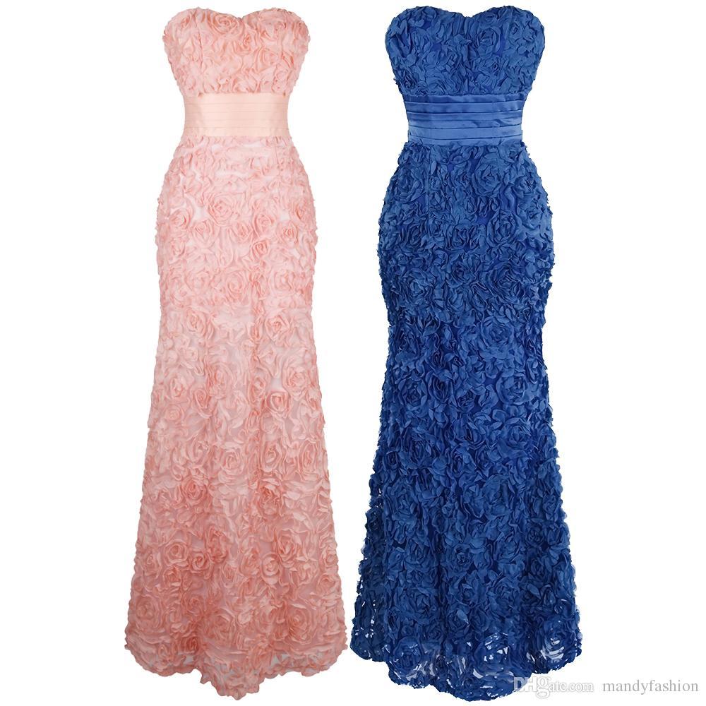 c368356837 Vestidos De Festa Para Gordinhas Angel Modas Das Mulheres Sem Alças Querida  Subiu Apliques Plissado Faixa Vestido De Dama De Honra Tapete Vermelho  Vestidos ...